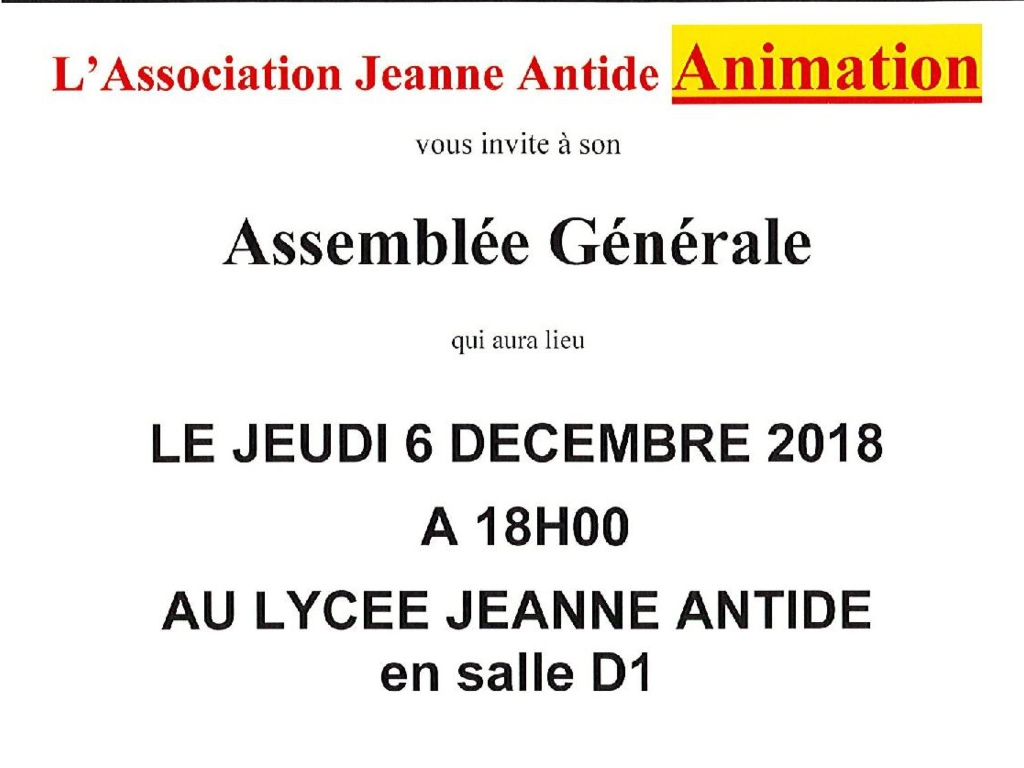 JEANNE ANTIDE ANIMATION- Convocation AG du 06 déc 2018